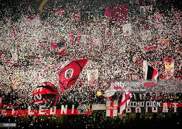 AC Milan fans during the Italian Serie A game against Juventus played at the San Siro Stadium in Milan Italy The game ended in a 22 draw Mandatory...