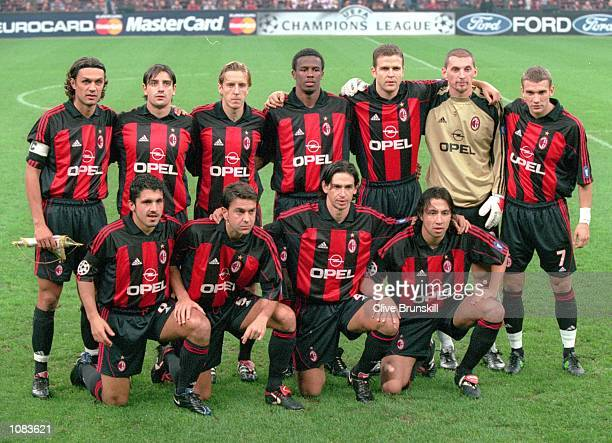 AC Milan team photograph taken before the UEFA Champions League match against Barcelona at the San Siro in Milan Italy The match was drawn 33...