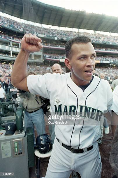 Alex Rodriguez of the Seattle Mariners celebrates after winning Game Three of the American Leage Division Series against the Chicago White Sox at...