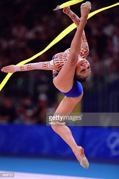 Alina Kabaeva of Russia on her way to Bronze in the Womens Rhythmic Gymnastics Final at Pavilion 3 on Day 16 of the Sydney 2000 Olympic Games in...
