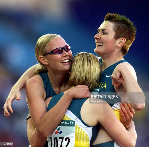 Alison Quinn Katrina Webb and Lisa McIntosh of Australia celebrate their medal wins in the Womens 200m T38 Final at the Sydney 2000 Paralympic Games...