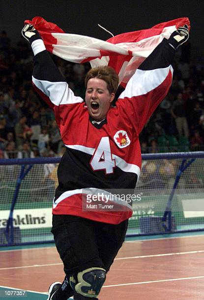 Amy Alsop of Canada celebrates winning Gold in the Womens Gold Medal Goalball Match between Canada and Spain during the Sydney 2000 Paralympic Games...