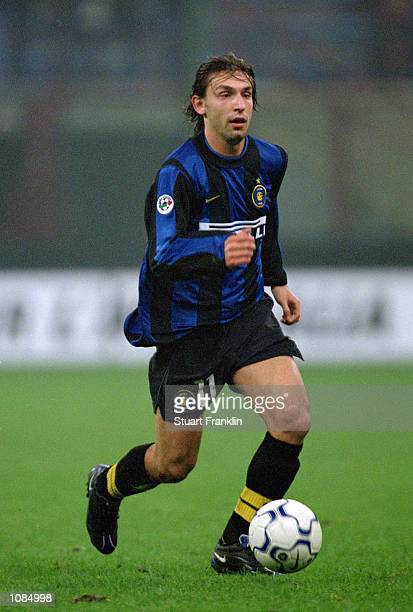 Andrea Pirlo of Inter Milan in action during the UEFA Cup second round first leg against Vitesse Arnhem at the San Siro in Milan, Italy. The match...