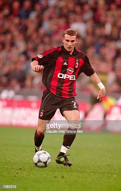 Andrei Shevchenko of AC Milan in action during the Italian Serie A game against Juventus played at the San Siro Stadium in Milan Italy The game ended...
