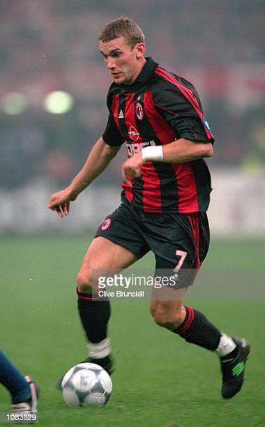 Andrei Shevchenko of AC Milan in action during the UEFA Champions League match against Barcelona at the San Siro in Milan Italy The match was drawn...
