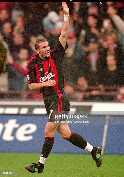 Andrei Shevchenko salutes the AC Milan fans after scoring during the Italian Serie A game against Juventus played at the San Siro Stadium in Milan...
