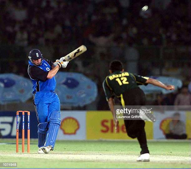 Andrew Flintoff of England hits a massive six during the first One Day International against England at the National Stadium Karachi Pakistan...