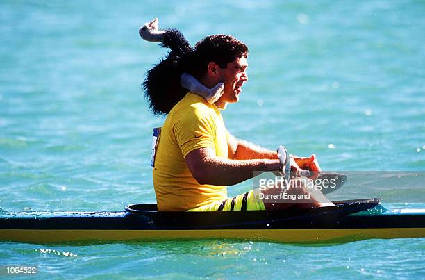 Andrew Tim of Australia after winning Silver in the Men's K2 500m Final at the Sydney 2000 Olympic Games Sydney Australia Mandatory Credit Darren...