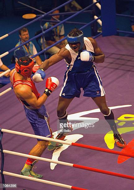 Audley Harrison of Great Britain on his way to Gold in the Mens Super Heavyweight 91 Kg Final at the Exhibition Halls on Day 16 of the Sydney 2000...