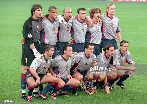 Barcelona team photograph taken before the UEFA Champions League match against AC Milan at the San Siro in Milan Italy The match was drawn 33...