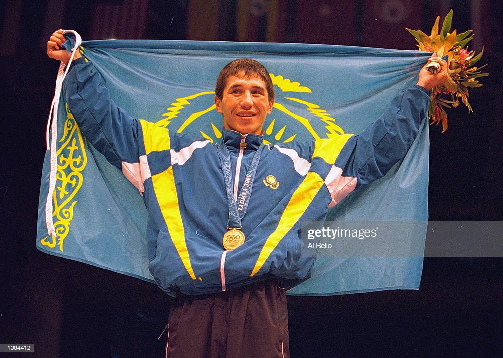 Bekzat Sattarkhanov of Kazahkstan celebrates winning Gold in the Mens 57kg Boxing at the Exhibition Halls on day 16 of the Sydney 2000 Olympic Games in Sydney, Australia. \ Mandatory Credit: Al Bello /Allsport
