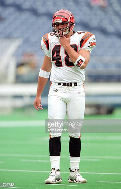 Brad St Louis of the Cincinnati Bengals stands on the field before the game against the Pittsburgh Steelers at the Three Rivers Stadium in Pittsburgh...