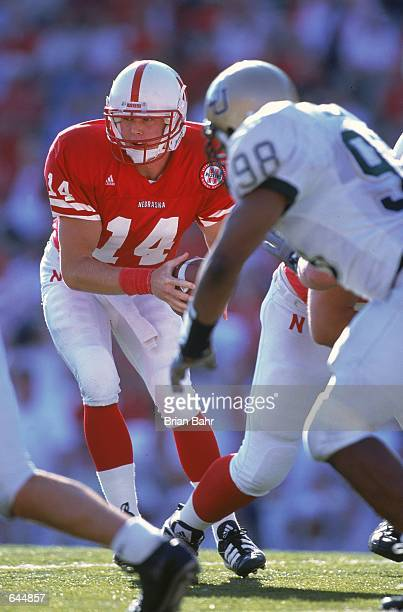 Brett Lindstrom of the Nebraska Cornhuskerslooks to hand the ball off during the game against the Baylor Bears at the Memorial Stadium in Lincoln...