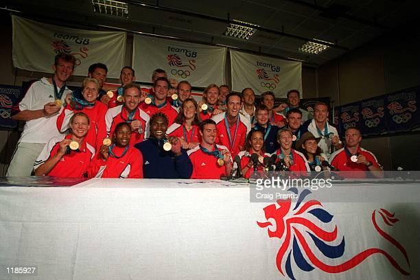 British Gold Medallists seen during a Press Conference after arriving at Heathrow airport from the Sydney Olympics this morning Mandatory Credit...