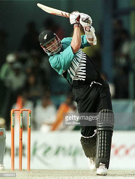 Chris Cairns of New Zealand hits a six on his way to a century during the New Zealand v India final of the ICC Knockout Tournament at the Gymkhana...