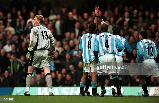 Chris Kirkland the Coventry City goalkeeper is shown the red card during the FA Carling Premiership game between Chelsea v Coventry City at Stamford...