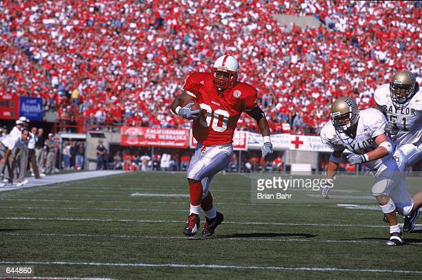 Dahrran Diedrick of the Nebraska Cornhuskers runs with the ball during the game against the Baylor Bears at the Memorial Stadium in Lincoln Nebraska...