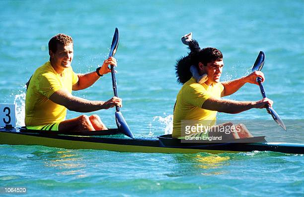 Daniel Collins and Andrew Tim of Australia celebrate after winning Gold in the Men's K2 500m Final at the Sydney 2000 Olympic Games Sydney Australia...