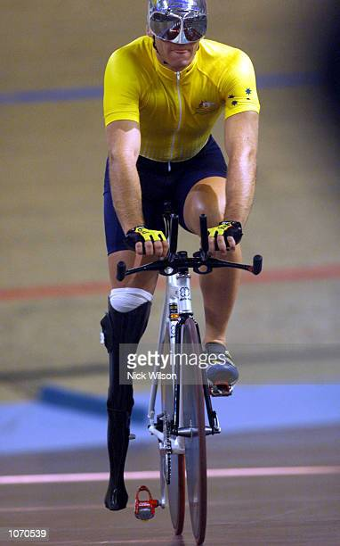Daniel Polson of Australia is dejected after he stumbled out of the Mixed 1 Kilometre Time Trial LC2 during the Sydney 2000 Paralympics at the Dunc...