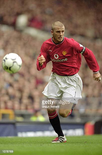 David Beckham of Manchester United in action during the FA Carling Premiership match against Leeds United at Old Trafford in Manchester England...