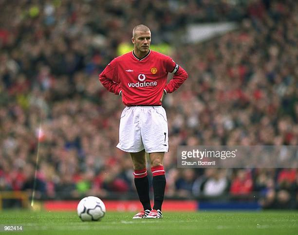 David Beckham of Manchester United prepares to take a freekick during the FA Carling Premiership match against Leeds United played at Old Trafford in...
