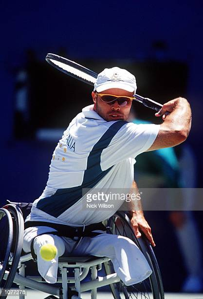 David Hall of Australia in action during his match against Steven Welch of USA in the men's tennis final as part of the 2000 Sydney Paralympic Games...