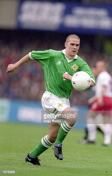 David Healy of Northern Ireland in action during the World Cup 2002 Qualifying match against Denmark played at Windsor Park, in Belfast, Northern...