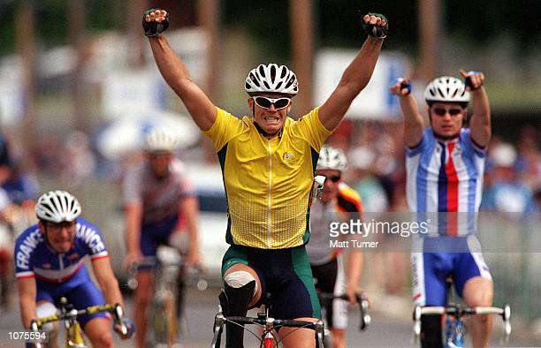 David Polson of Australia after winning in the mixed bicycle road race LC2 on the road course during the Sydney 2000 Paralympic Games in Sydney...
