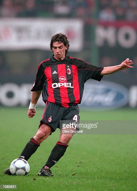 Demetrio Albertini of AC Milan in action during the UEFA Champions League match against Barcelona at the San Siro in Milan Italy The match was drawn...