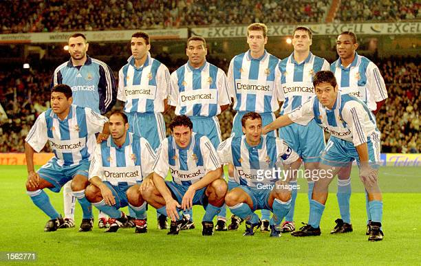 Deportivo La Coruna line up for the Spanish Primera Liga match against Real Madrid at the Santiago Bernabeu in Madrid, Spain. \ Pic: Nuno Correia \...
