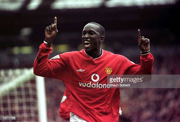 Dwight Yorke of Man Utd celebrates after scoring the first goal during the Manchester United v Leeds United FA Carling Premiership match at Old...