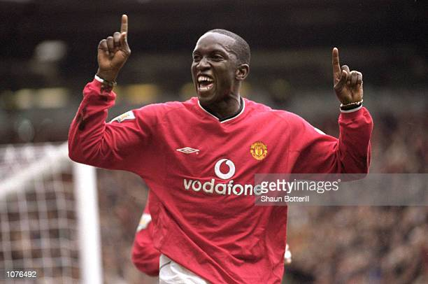Dwight Yorke of Manchester United celebrates during the FA Carling Premiership match against Leeds United at Old Trafford in Manchester England...