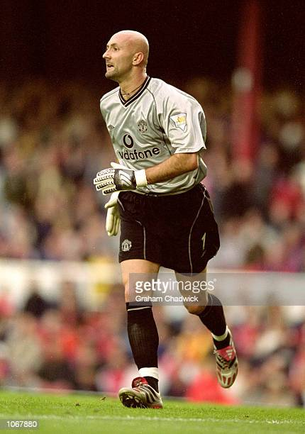 Fabien Barthez of Manchester United in action during the FA Carling Premiership match against Arsenal at Highbury in London Arsenal won the match 10...
