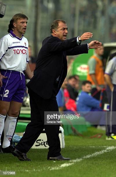 Fiorentina coach Fatih Terim issues instructions during the Brescia v Fiorentina Serie A match played at the Mario Rigamonti stadium in Brescia...