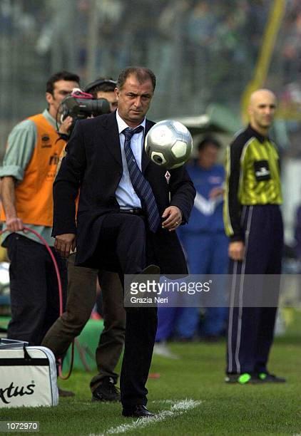 Fiorentina coach Fatih Terim shows his skills during the Brescia v Fiorentina Serie A match played at the Mario Rigamonti stadium in Brescia...