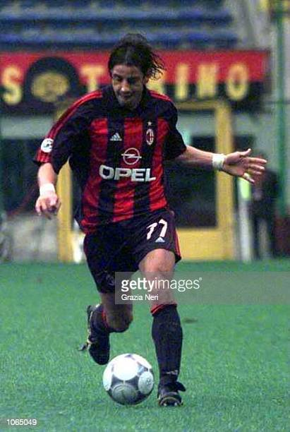 Francesco Coco of AC Milan in action during the Serie A league match between AC Milan and Vicenza played at the San Siro Stadium in Milan Italy...