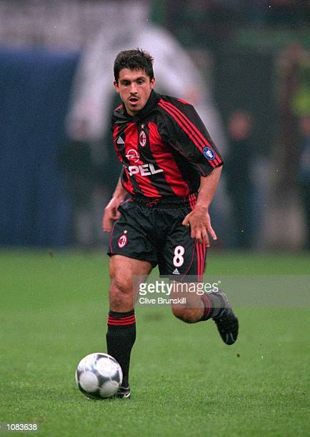 Gennaro Gattuso of AC Milan in action during the UEFA Champions League match against Barcelona at the San Siro in Milan Italy The match was drawn 33...