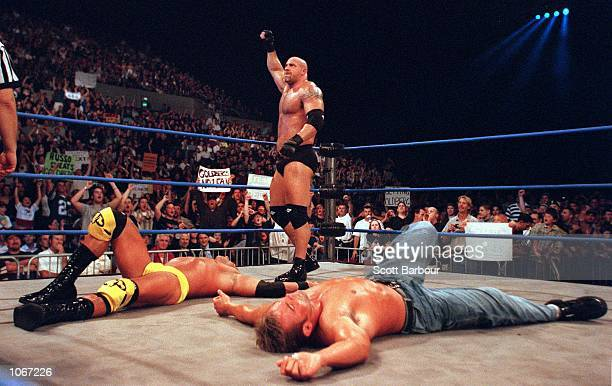 Goldberg celebrates after defeating Chuck Palumbo after their bout at the World Chamionship Wrestling ''Thunder Down Under'' night at the Sydney...