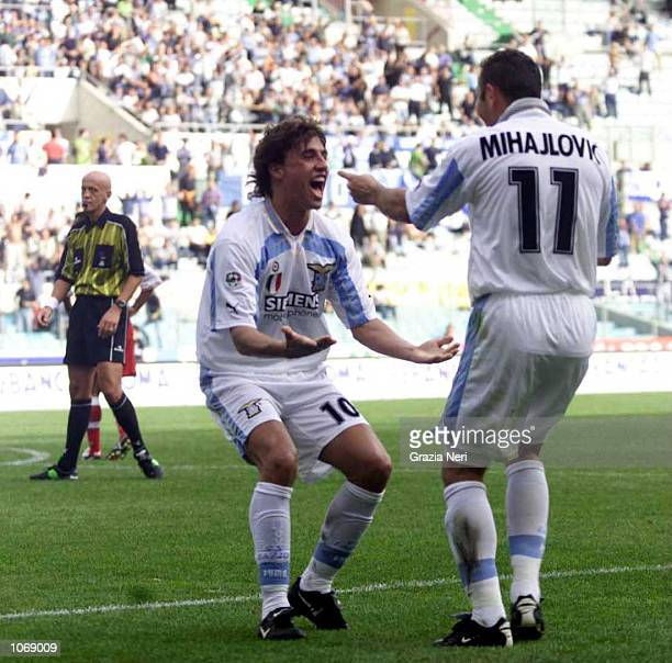 Hernan Crespo of Lazio celebrates with Sinisa Mihajlovic after scoring during the Serie A league match between Lazio and Perugia played at the...