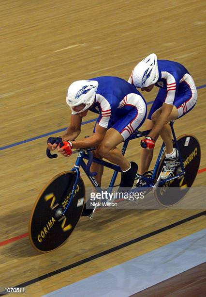 Iain Dawson and Raymond Hughes of Great Britain in action during the Mens Tandem Individual Pursuit Open cycling during the Sydney 2000 Paralympics...