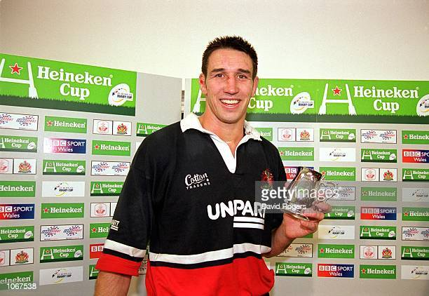Iain Jones of Gloucester with his man of the match award after the Heineken Cup Pool 5 match against Llanelli at Stradey Park, in Llanelli, Wales....