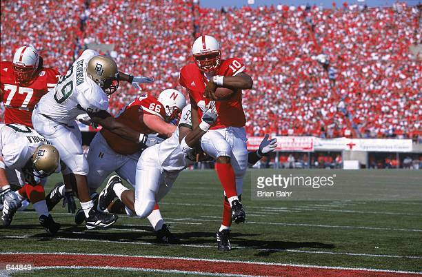 Jammal Lord of the Nebraska Cornhuskers runs into the endzone for a touchdown during the game against the Baylor Bears at the Memorial Stadium in...