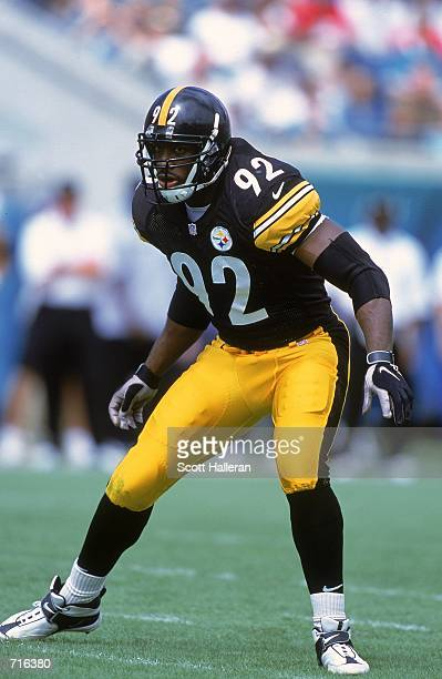 Jason Gildon of the Pittsburgh Steelers is ready on the field during the game against the Jacksonville Jaguars at the Alltell Stadium in Jacksonville...