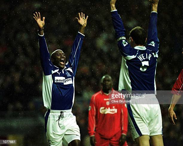 Kevin Campbell of Everton celebrates after scoring the equalising goal during the Liverpool v Everton FA Carling Premiership match at Anfield...