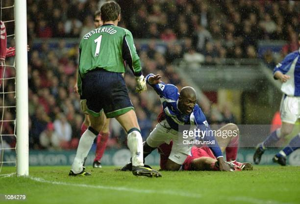 Kevin Campbell of Everton celebrates his goal during the FA Carling Premiership match against Liverpool played at Anfield in Liverpool England...