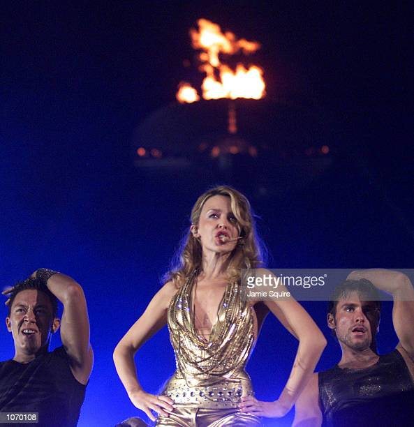 Kylie Minogue performs during the opening of the Sydney 2000 Paralympic Games at Sydney Olympic Park, Sydney Australia. DIGITAL IMAGE. Mandatory...