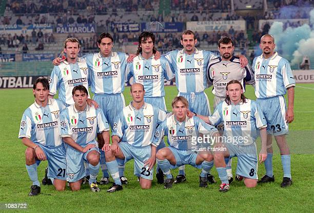 Lazio team lineup before the UEFA Champions League match against Shakhtar Donetsk played at the Stadio Olimpico in Rome Italy Lazio won the match 51...