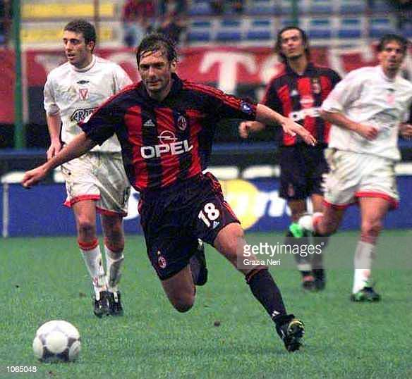 Leonardo of AC Milan in action during the Serie A league match between AC Milan and Vicenza played at the San Siro Stadium in Milan Italy GIUSEPPE...