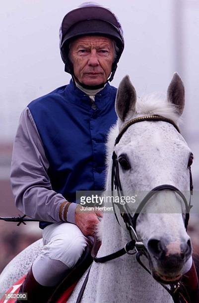 Lester Piggott takes the former top steeple chaser Desert Orchid round the parade ring at Wincanton prior to the days racing Mandatory Credit Julian...