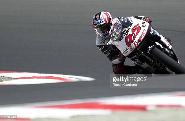 Loris Capirossi of Italy and the Emerson Honda Pons race team in action during the 500cc qualifying session at the Qantas Australian 500cc Grand Prix...
